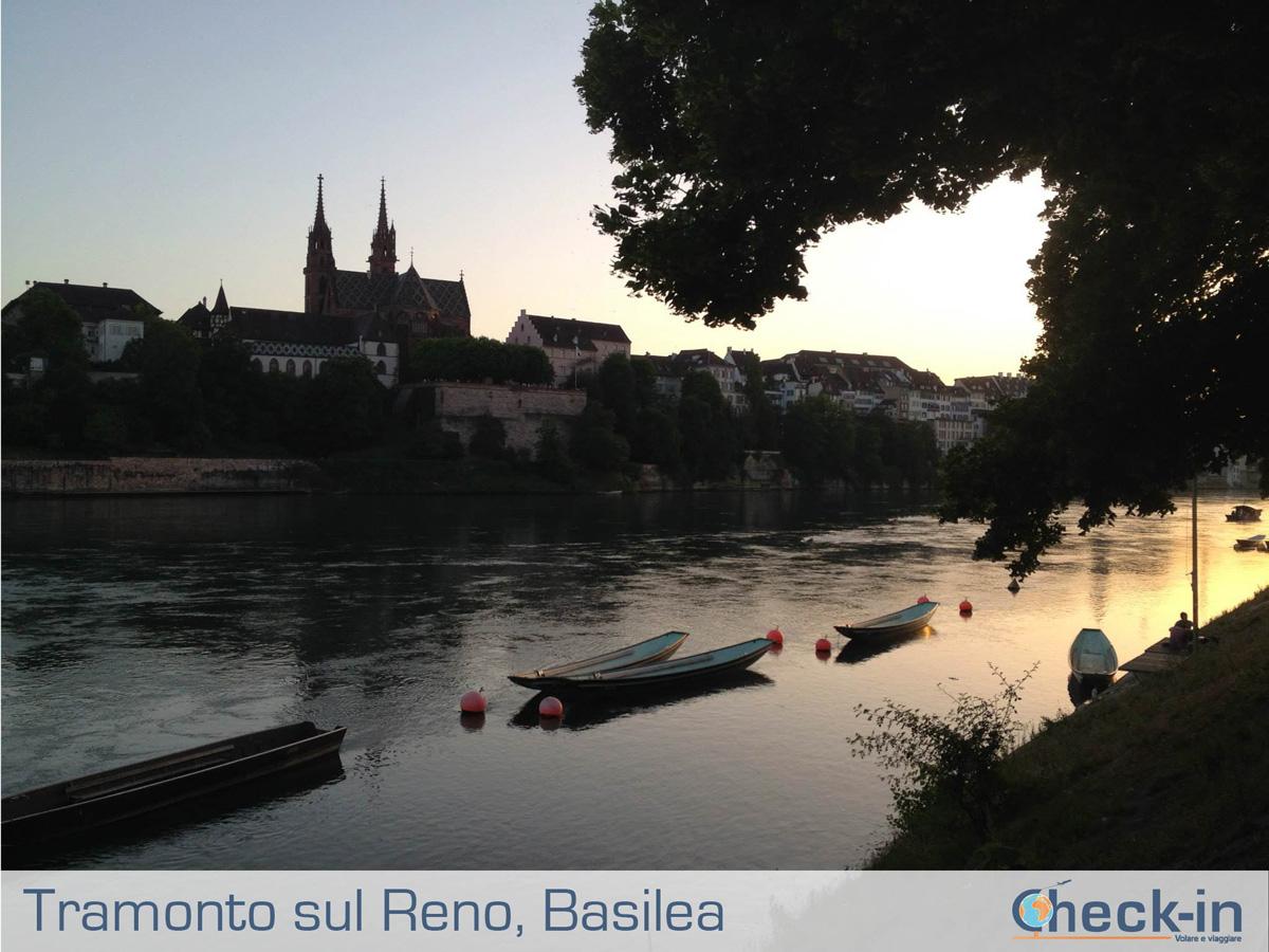 Basilea: tramonto spettacolare sul Reno
