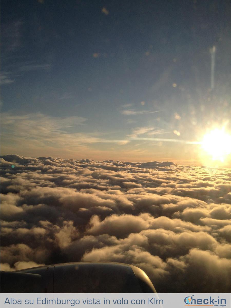 Ammirando l'alba in volo su Edimburgo con Klm