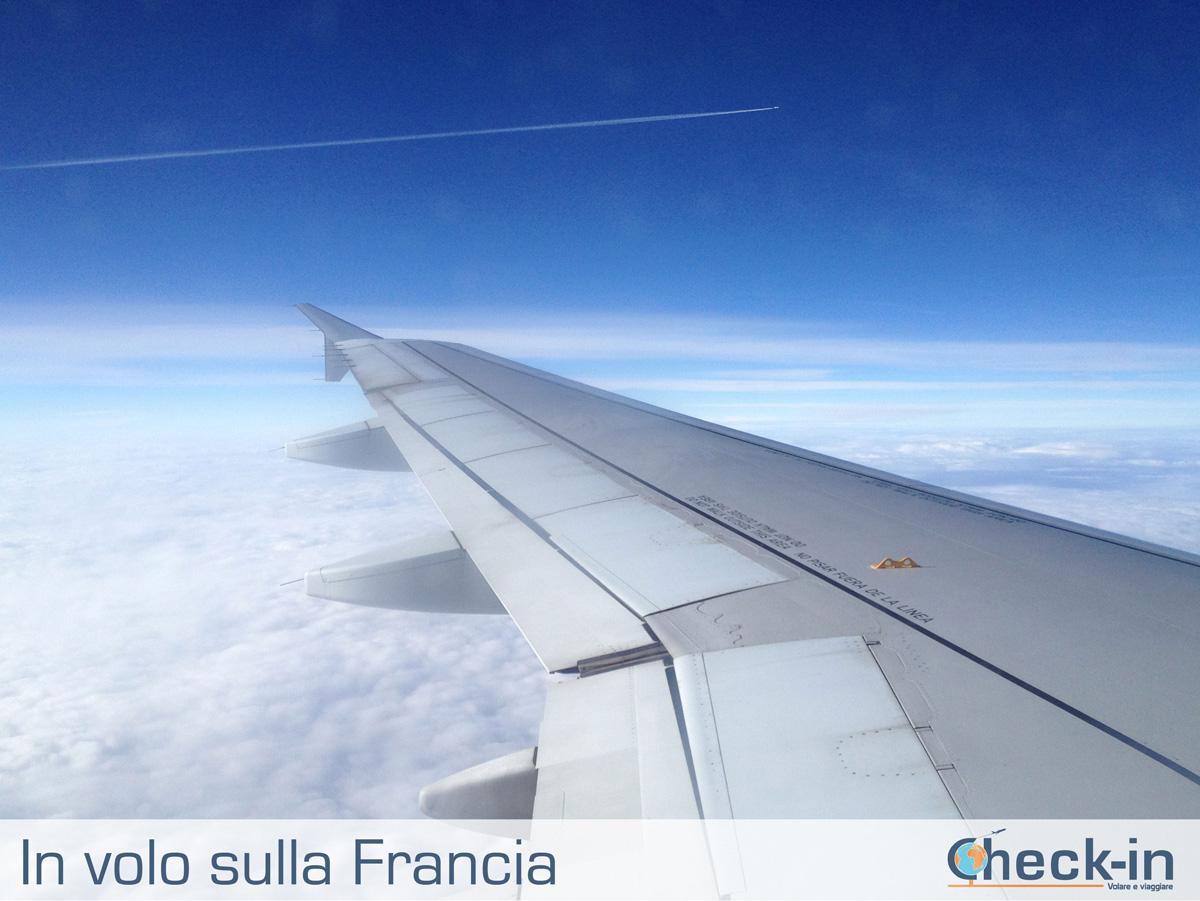 In volo con Iberia sulla Francia (coperta dalle nuvole)