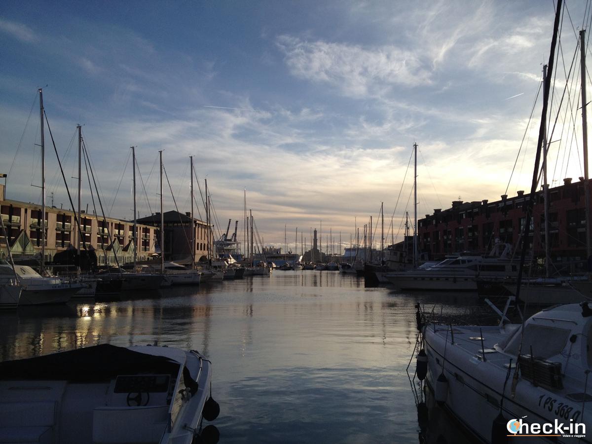 Tramonto sul Porto Antico di Genova