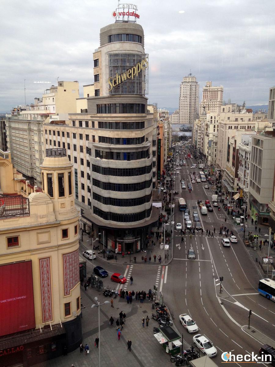 Vista panoramica su Madrid con scorcip della Gran Vía e di Plaza de España