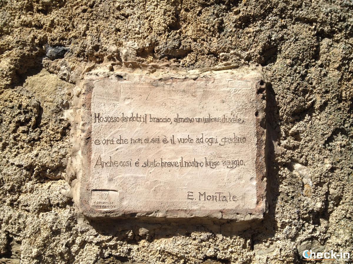 targa ad E. Montale a Monterosso al mare