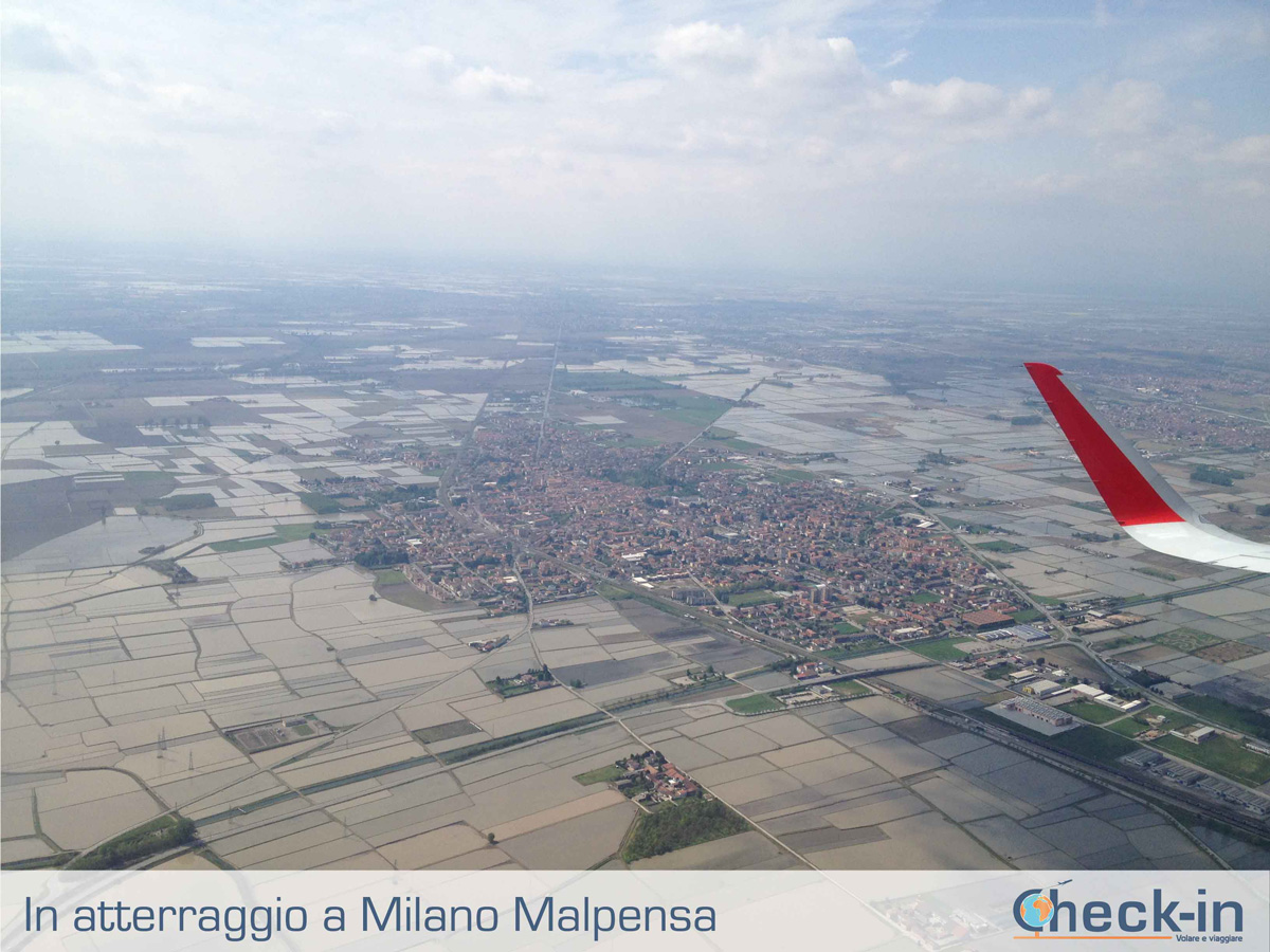 In volo da Madrid a Milano appena prima di atterrare all'aeroporto di Malpensa