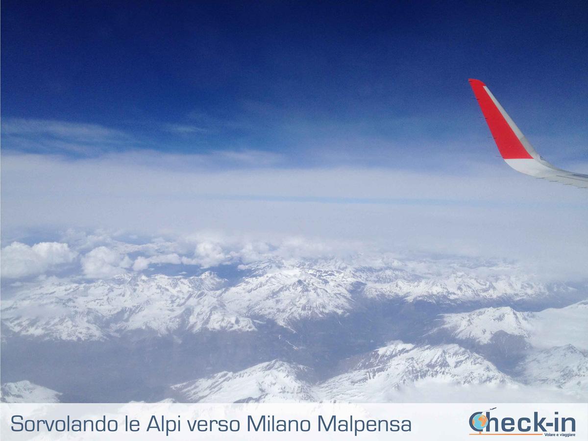 Da Madrid a Milano, in volo sulle Alpi innevate