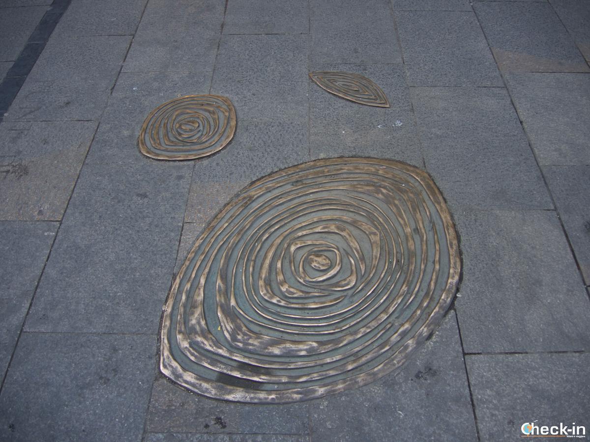 Riproduzione di fossili nella Rambla del Barrí Vell di Girona