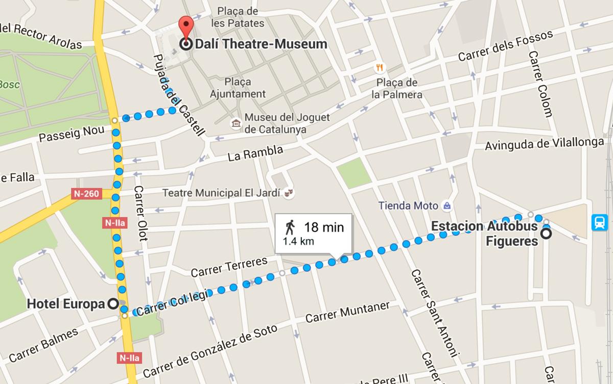 Mappa Hotel Europa di Figueres