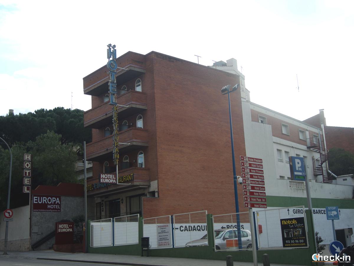 L'Hotel Europa di Figueres ed il parcheggio pubblico