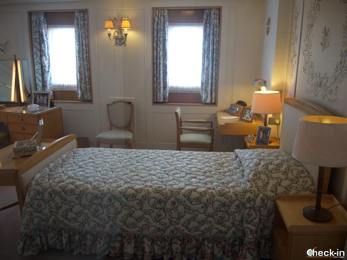La camera da letto della Regina sul Britannia