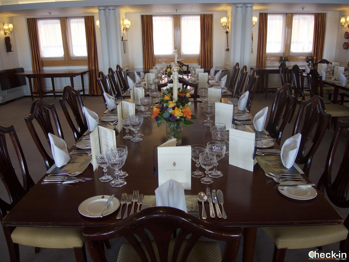 La sala da pranzo a bordo del Britannia