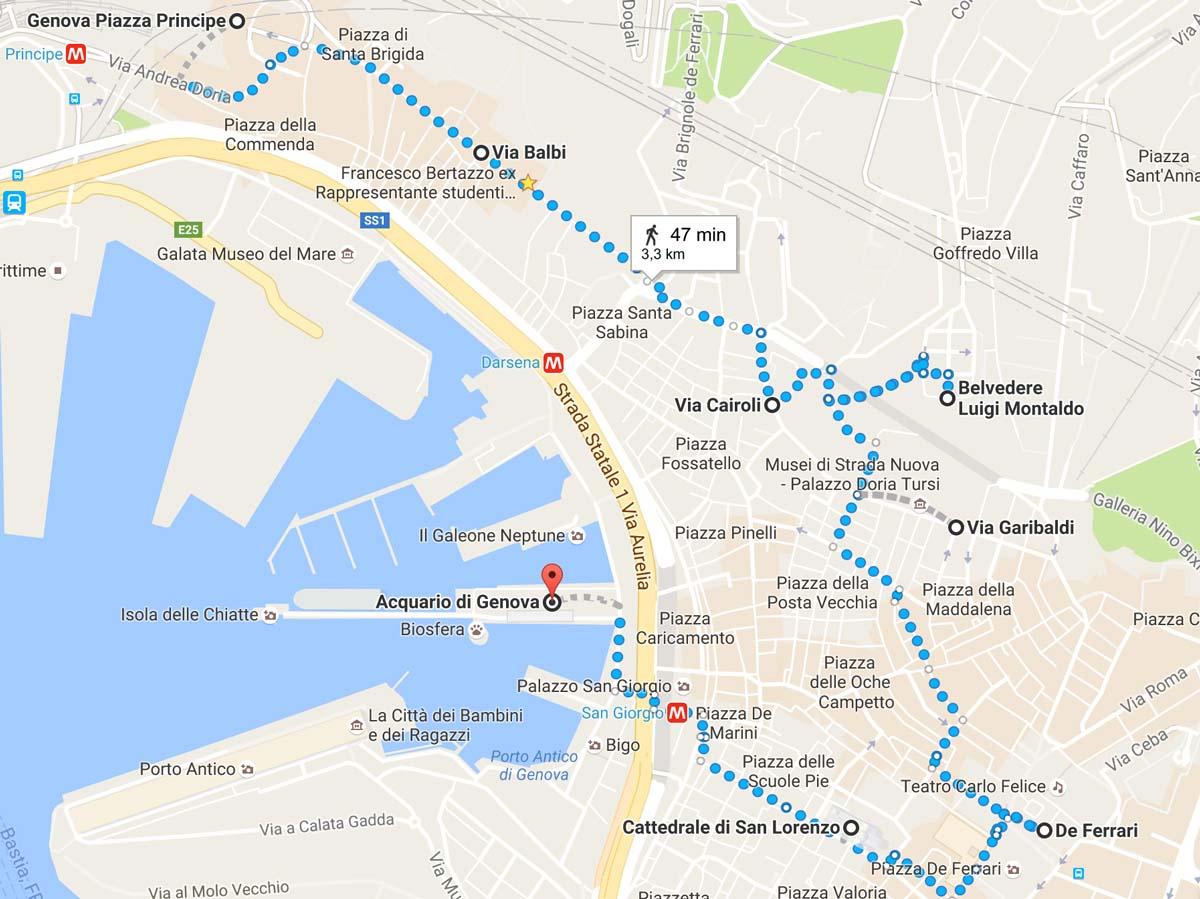 Cosa vedere nel centro storico di Genova: la mappa con l'itinerario seguito