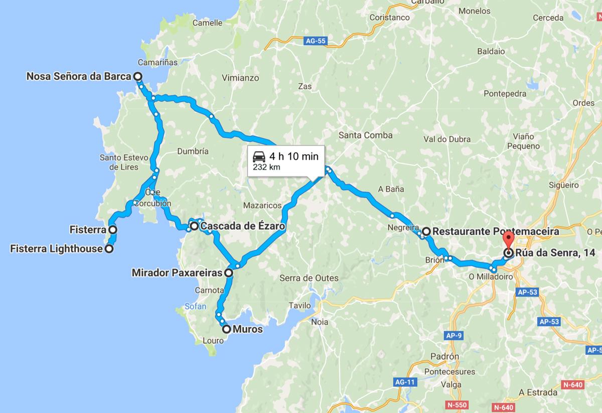 Mappa della Galizia e della Costa da Morte: le tappe del tour