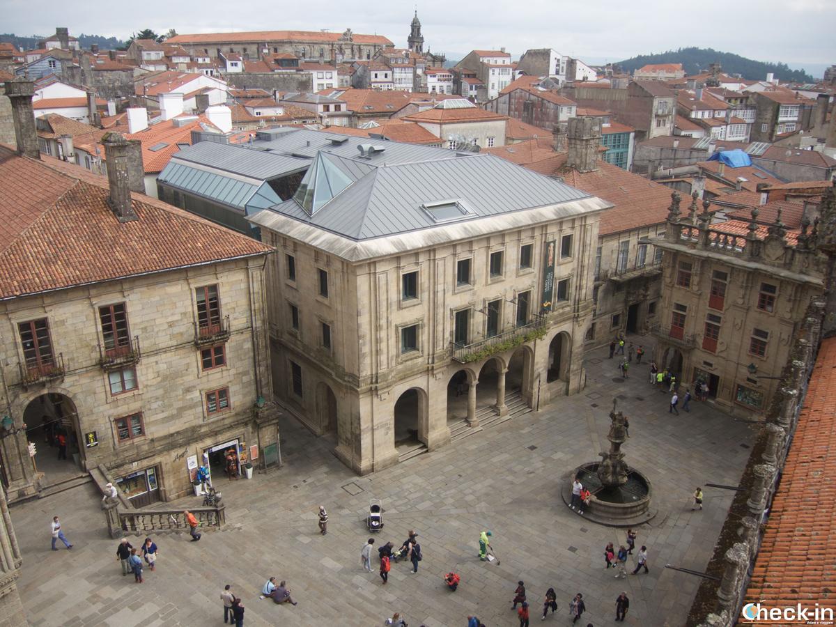 Que ver en Santiago de Compostela en tres días: Praza das Praterías vista de la Cubiertas de la Catedral
