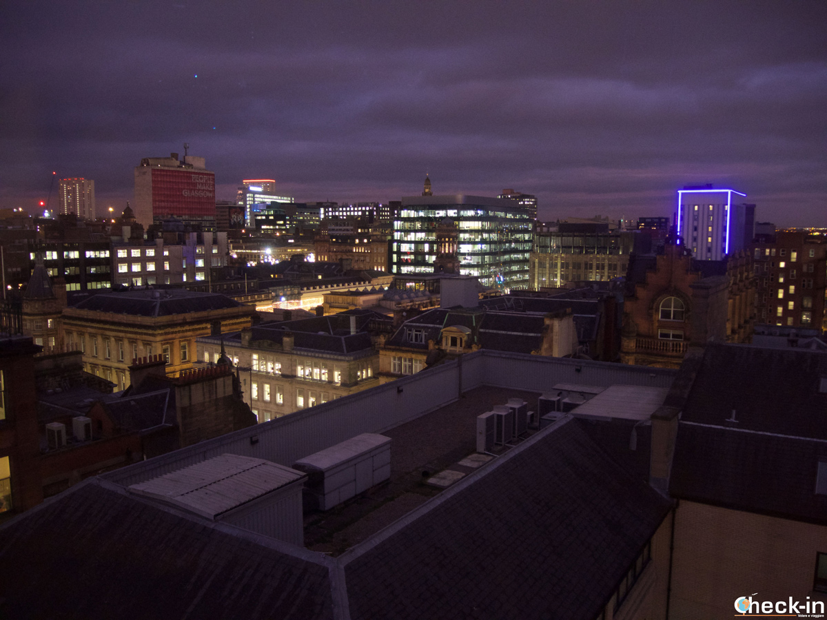 Skyline di Glasgow dall'ultimo piano del The Lighthouse