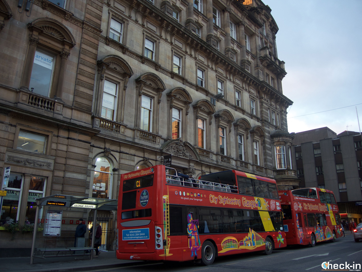 The Glasgow City Sightseeing Hop-on Hop-off bus tour in George Square