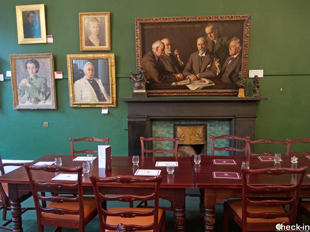La dining room del Glasgow Art Club
