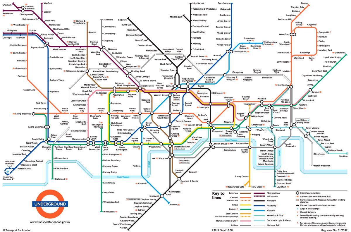 London Travelcard o Oyster Card: mappa della metro di Londra