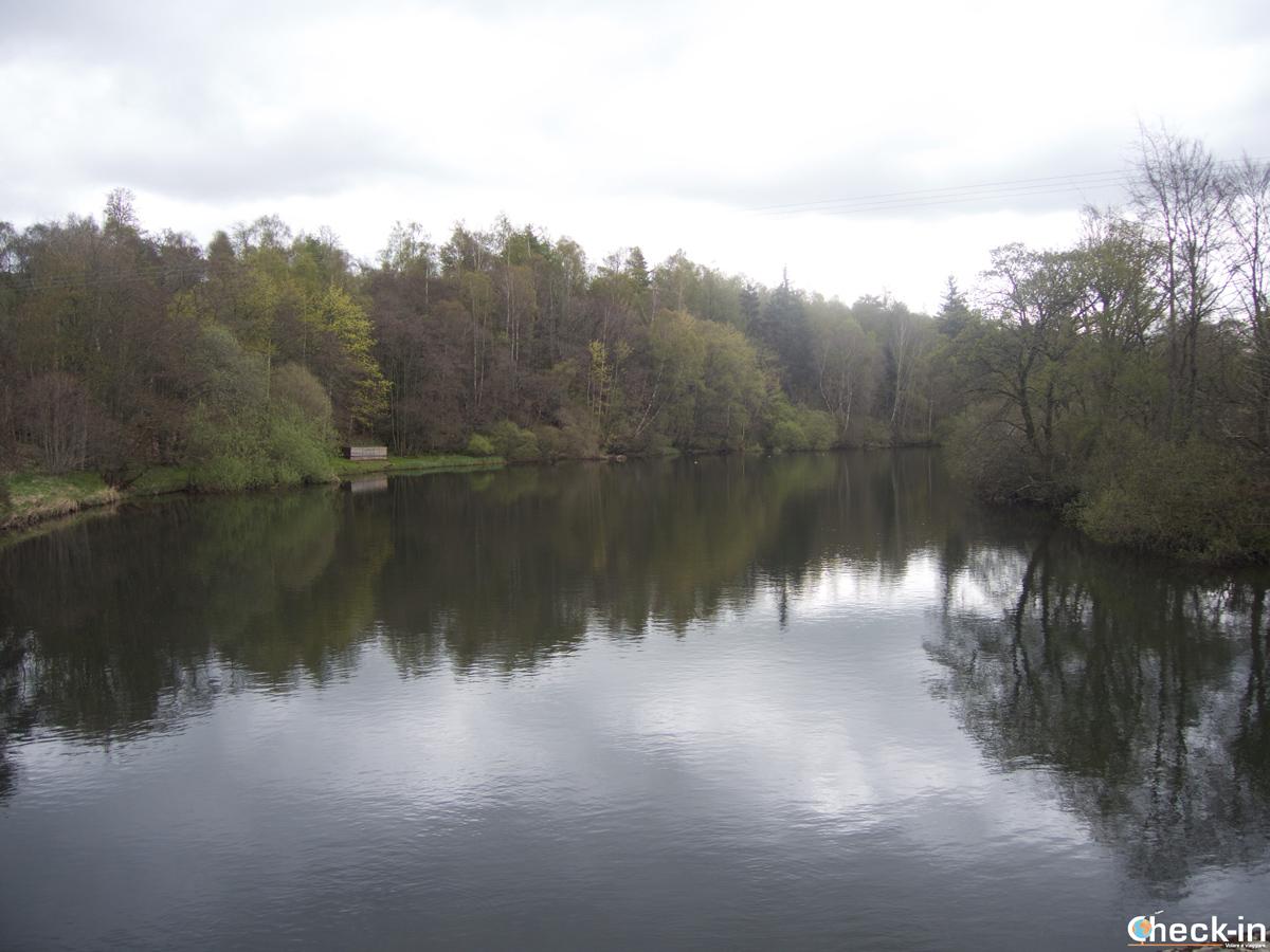 Inspiring reflections along the Falls of Clyde near New Lanark, Scotland
