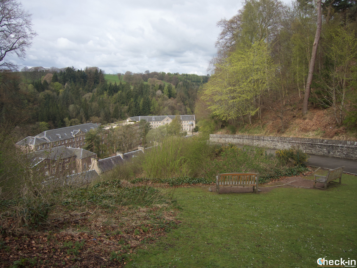 Sight of New Lanark cotton mill village from the car park