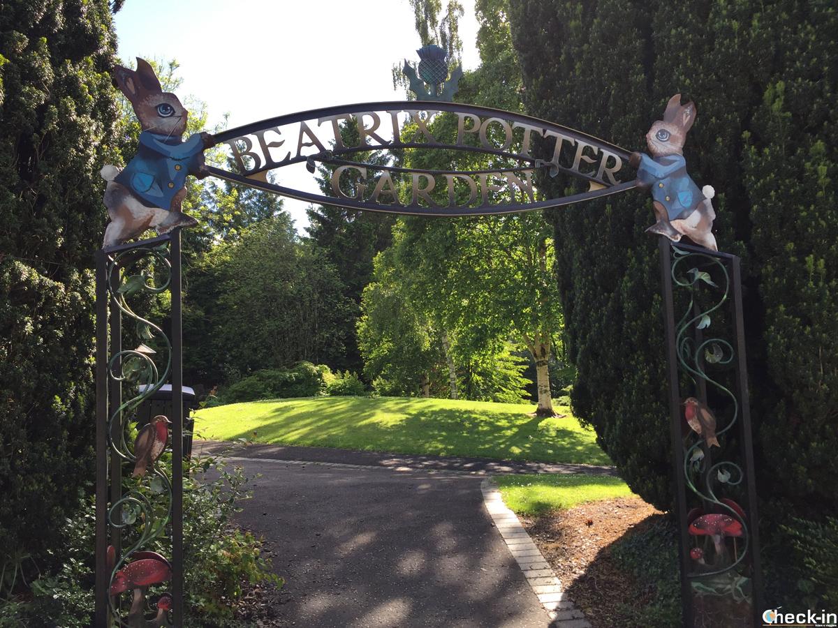 L'ingresso del Beatrix Potter Garden a Birnam