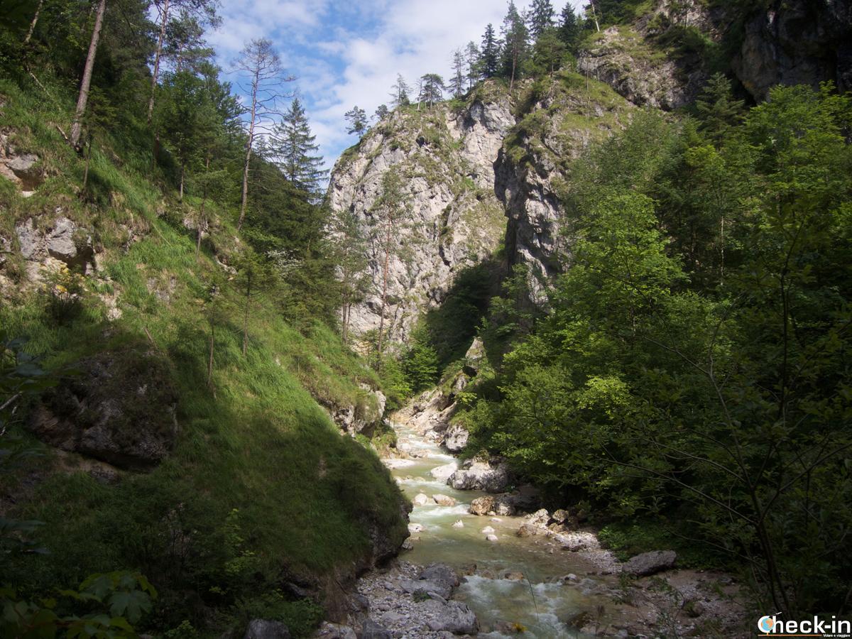 """Scorcio del """"canyon"""" nella valle del Kaisertal nel TIrolo austriaco"""