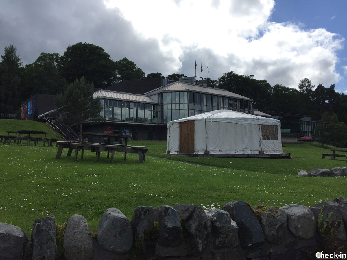 The Pitlochry Festival Theatre along the bank on river Tummel