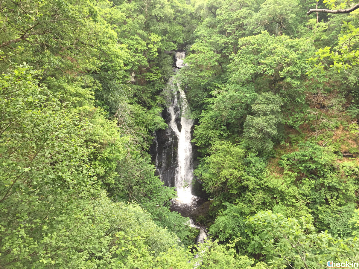 The famous Black Spout Waterfall in Pitlochry, Scotland