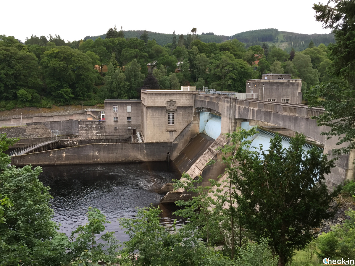 Sight of Pitlochry Dam and FIsh Ladder in Scotland