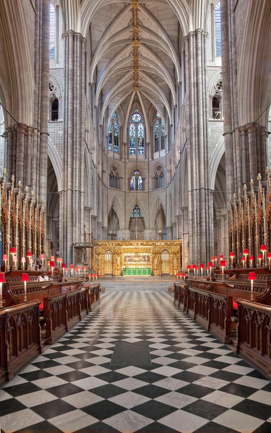 Navata interna dell'Abbazia di Westminster a Londra