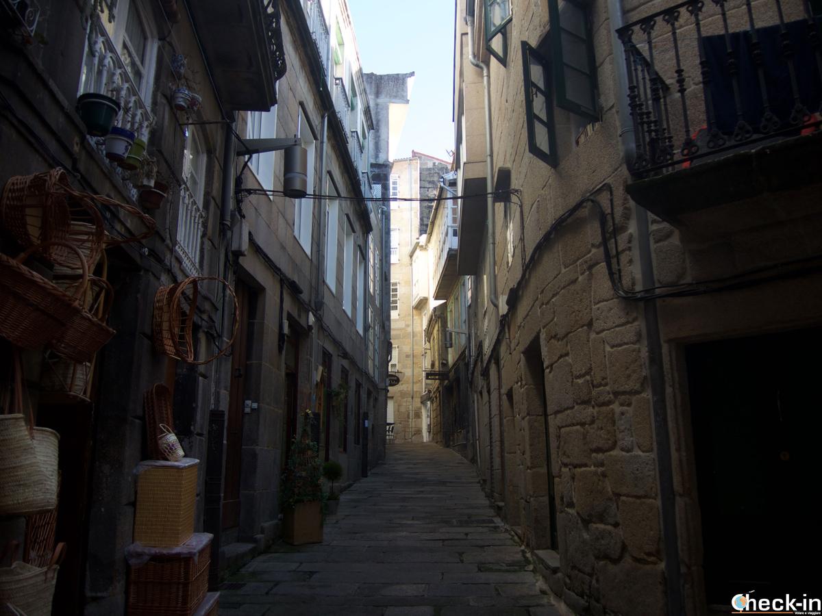 Rúa dos Cesteiros nel centro di Vigo - Galizia, Spagna
