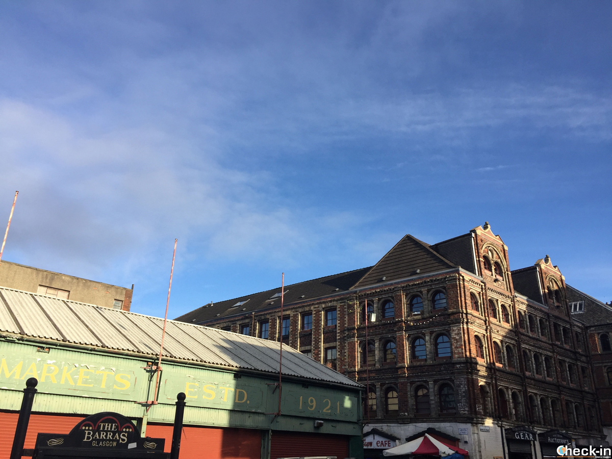 La zona del mercato Barras di Glasgow, Scozia