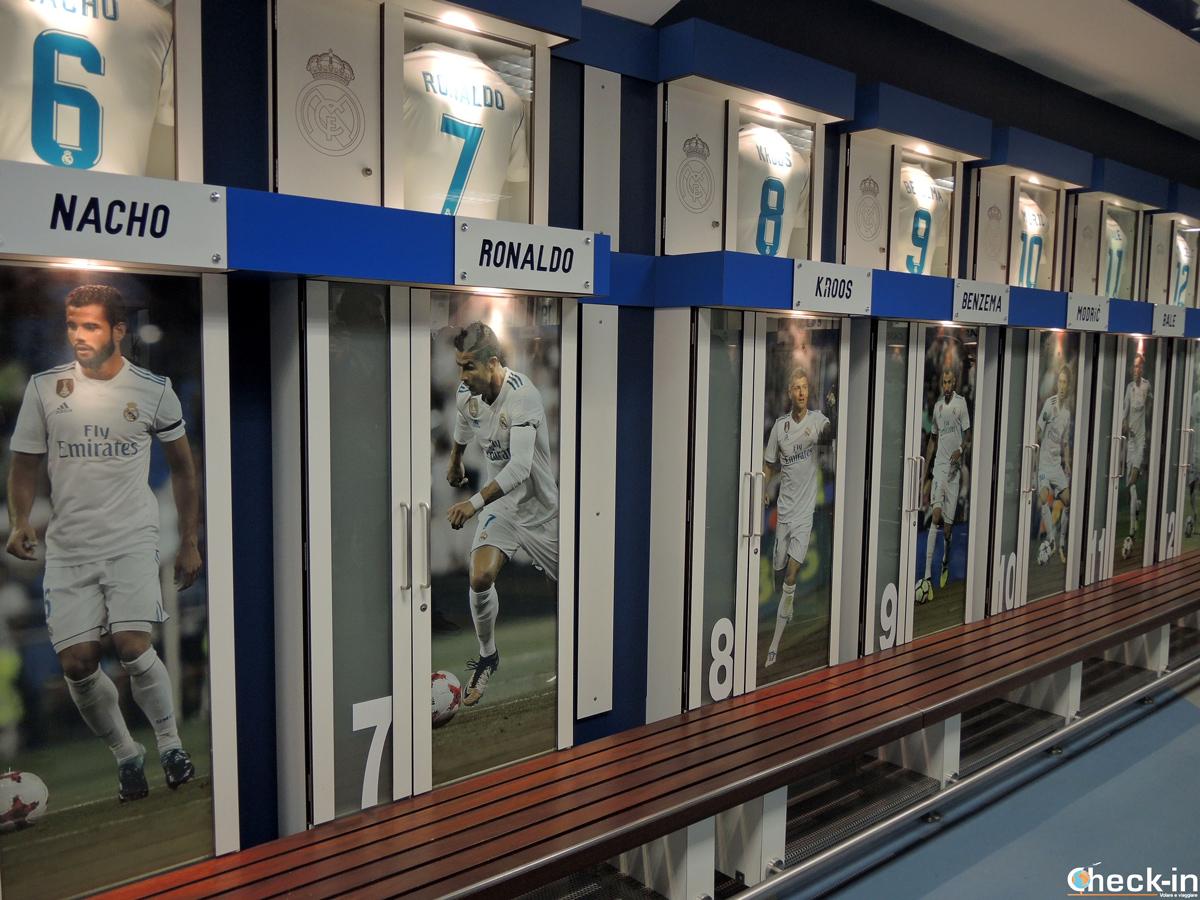 Gli spogliatoi del Real Madrid e l'armadietto di Cristiano Ronaldo