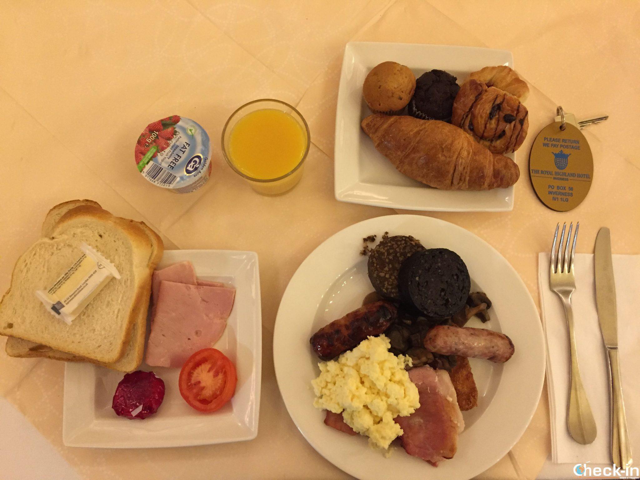 Il buffet della colazione al Royal Highland Hotel nel centro di Inverness
