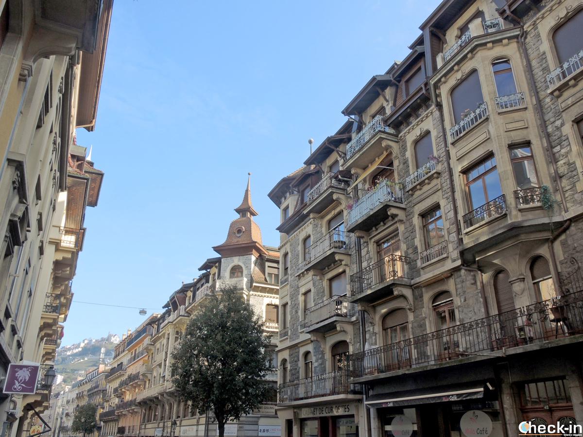 Scorcio dei palazzi di Montreux in stile Belle Epoque