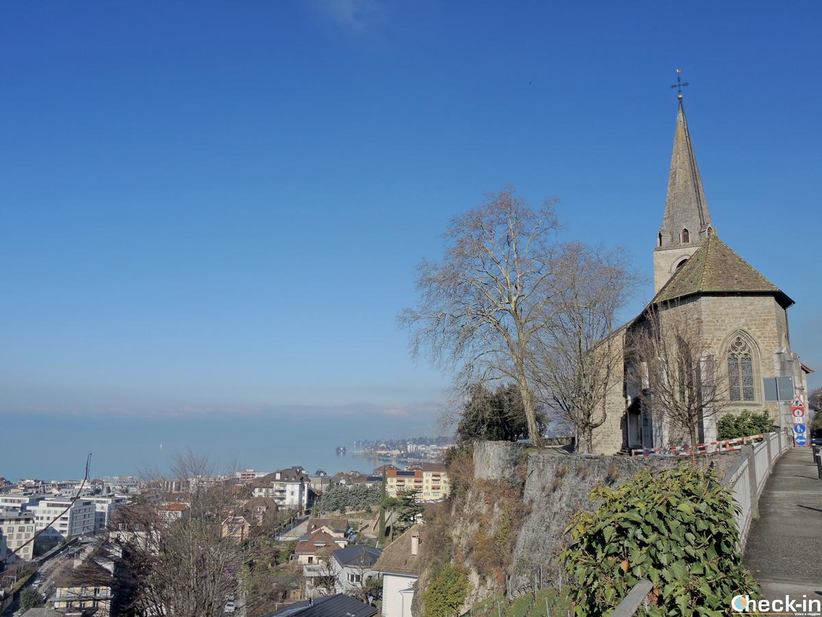 Panorama di Montreux e del lago di Ginevra dall'alto