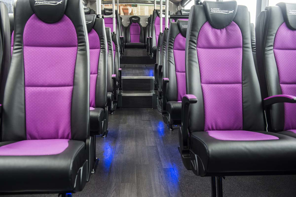 Seating spaces on board the Glasgow Airport Express Service 500