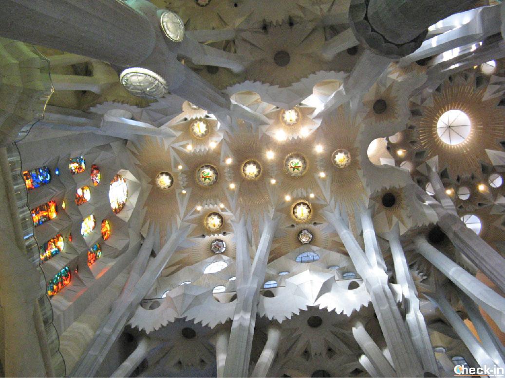 Visita degli interni della Sagrada Familia di Barcellona (Spagna)