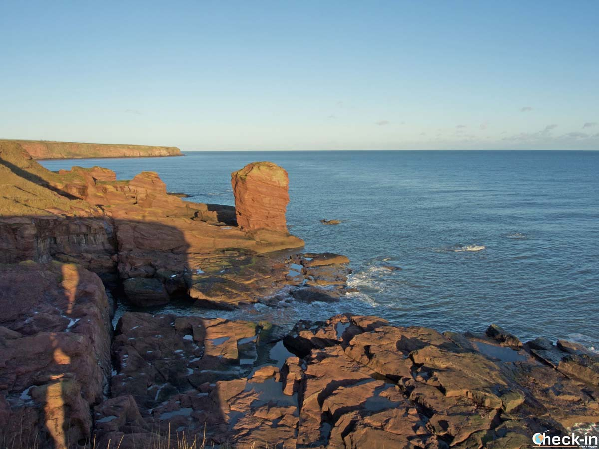 Rock formations along Angus' coast in East Scotland