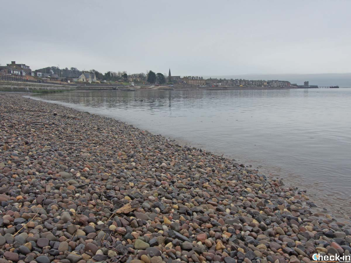 View of Broughty Ferry from the beach - Firth of Tay, Scotland