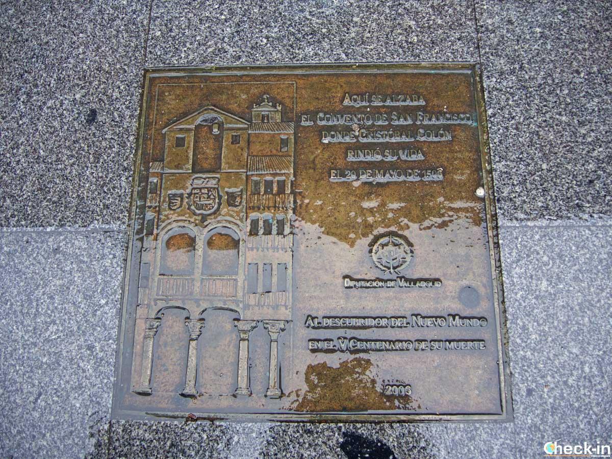Targa commemorativa della morte di Colombo a Valladolid (Spagna)