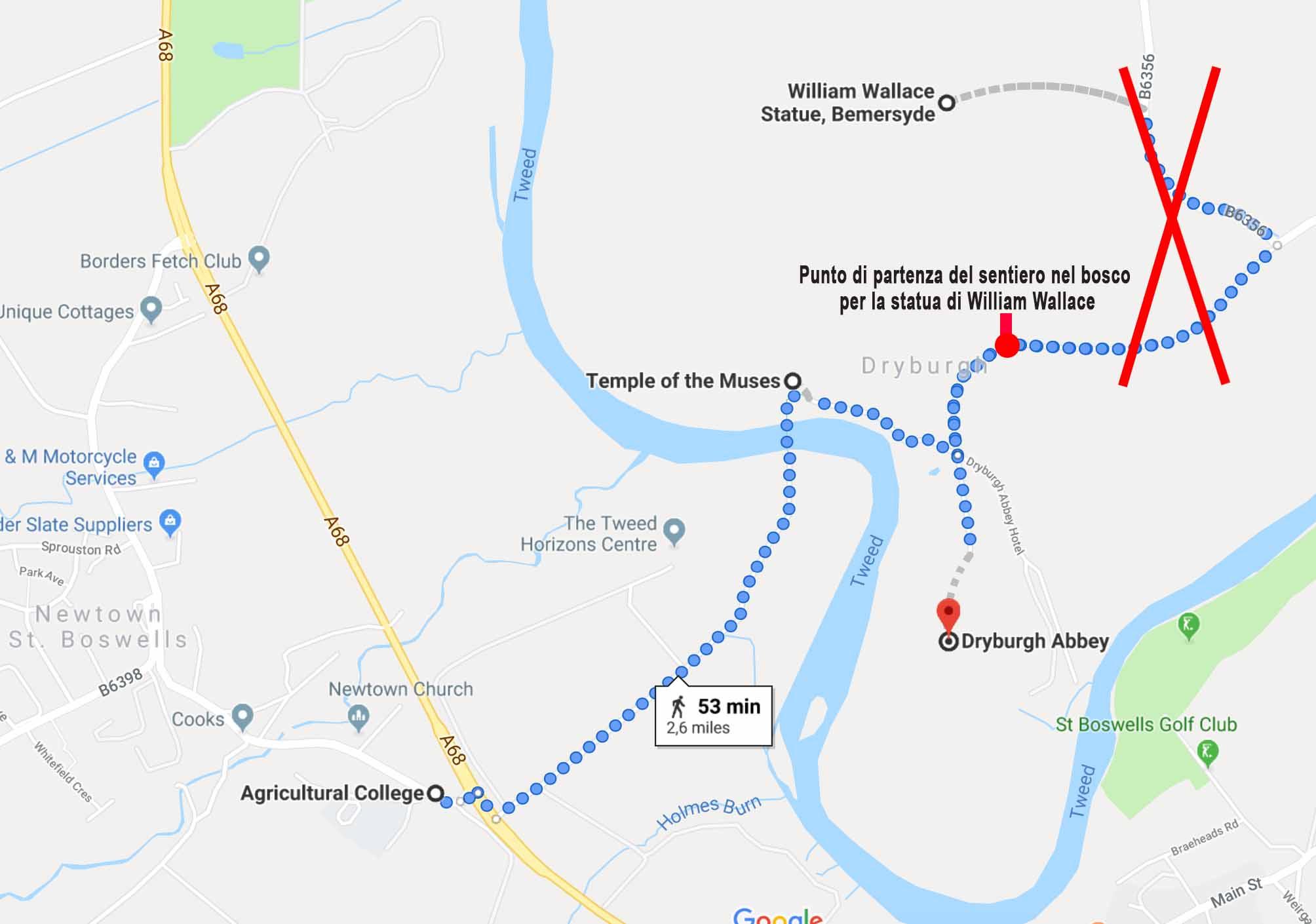 Come arrivare all'abbazia di Dryburgh a piedi