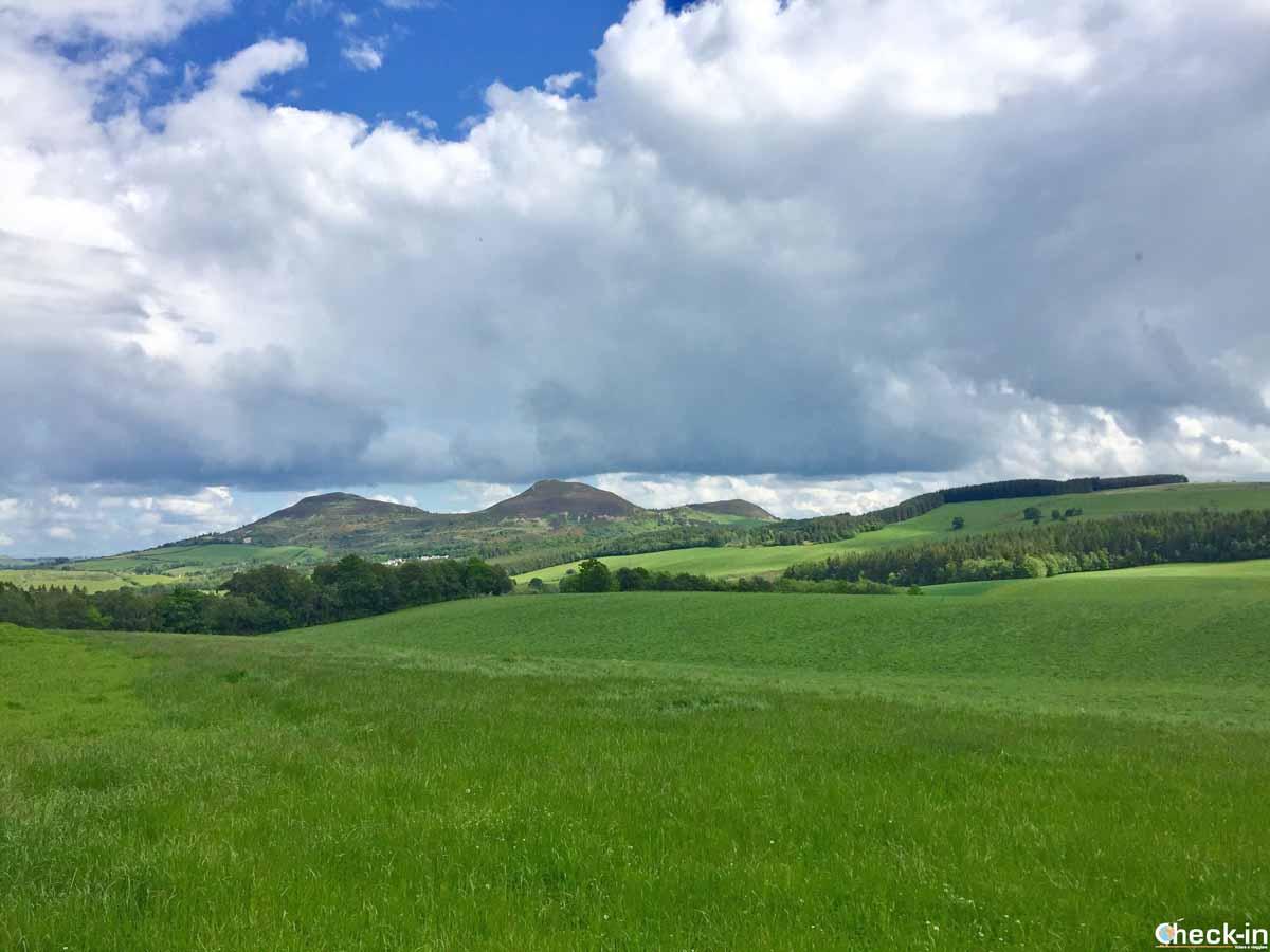 Le Eildon Hills vicino a Tweedbank (Scozia)