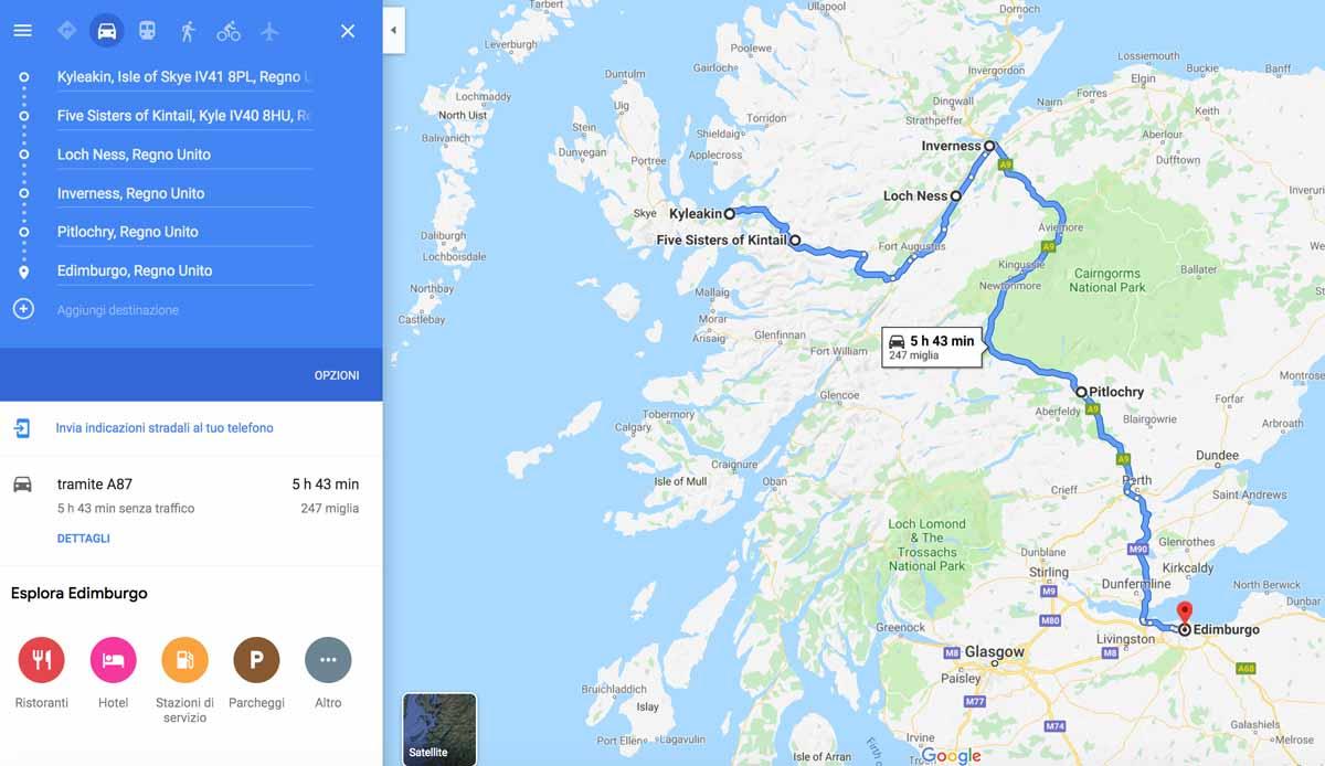 Mappa del percorso tra Skye ed Edimburgo