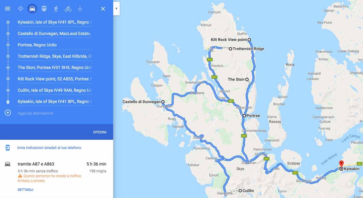 Itinerario giornaliero per visitare Skye