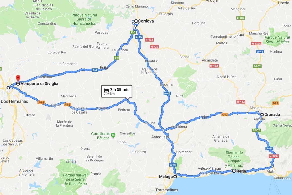Mappa dell'Andalusia on the road con le città da non perdere
