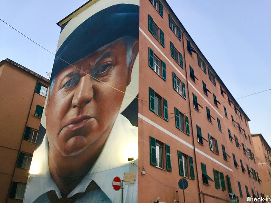 Murales dedicato a Fantozzi a Genova Certosa
