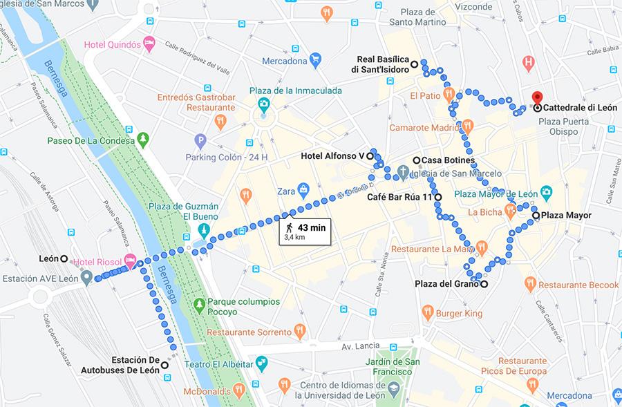 Mappa di León - Attrazioni e stazioni dei mezzi