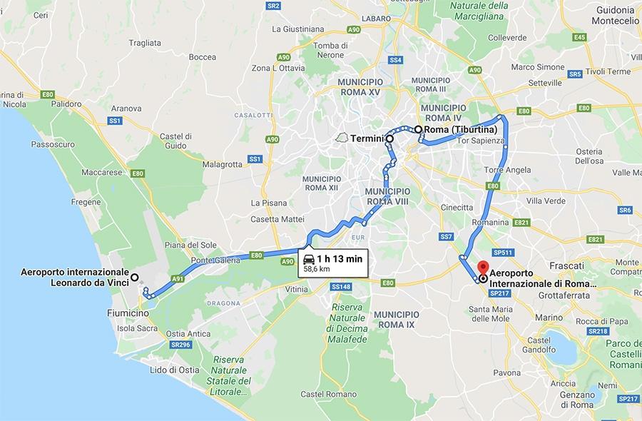 Dove si trovano gli aeroporti e le stazioni dei treni a Roma - Vacanza in Italia