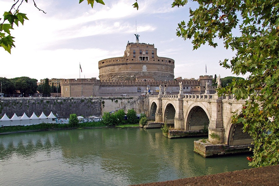 Sights of Ancient Rome - Castel Sant'Angelo near from River Tiber