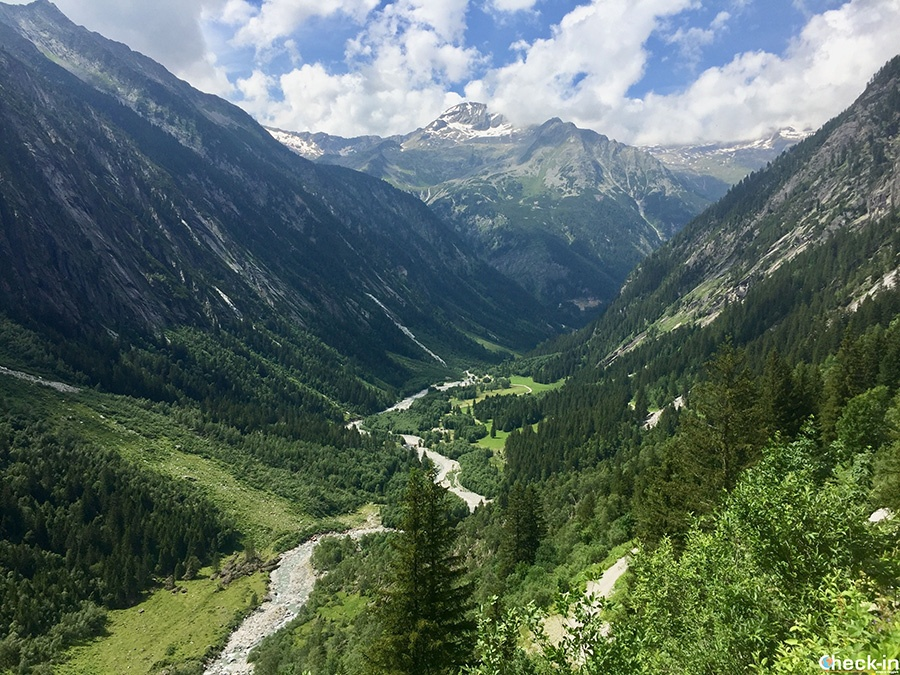 Vista panoramica sulle Alpi dello Zillertal dal rifugio Grawand Hütte a Ginzling (Tirolo)