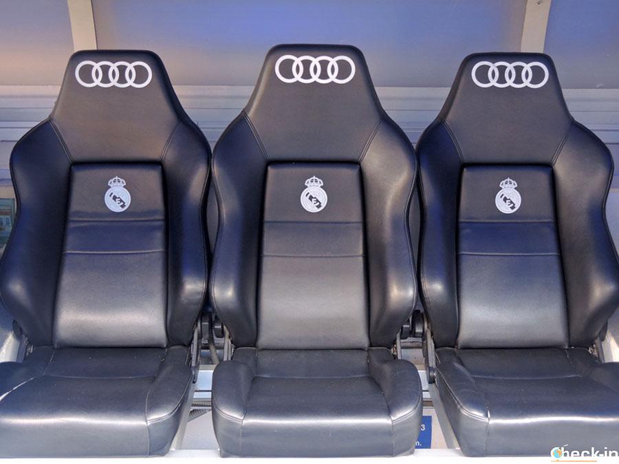 Banquillo del equipo del Real Madrid - Tour del Bernabéu